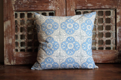 Block print cushion blue/white
